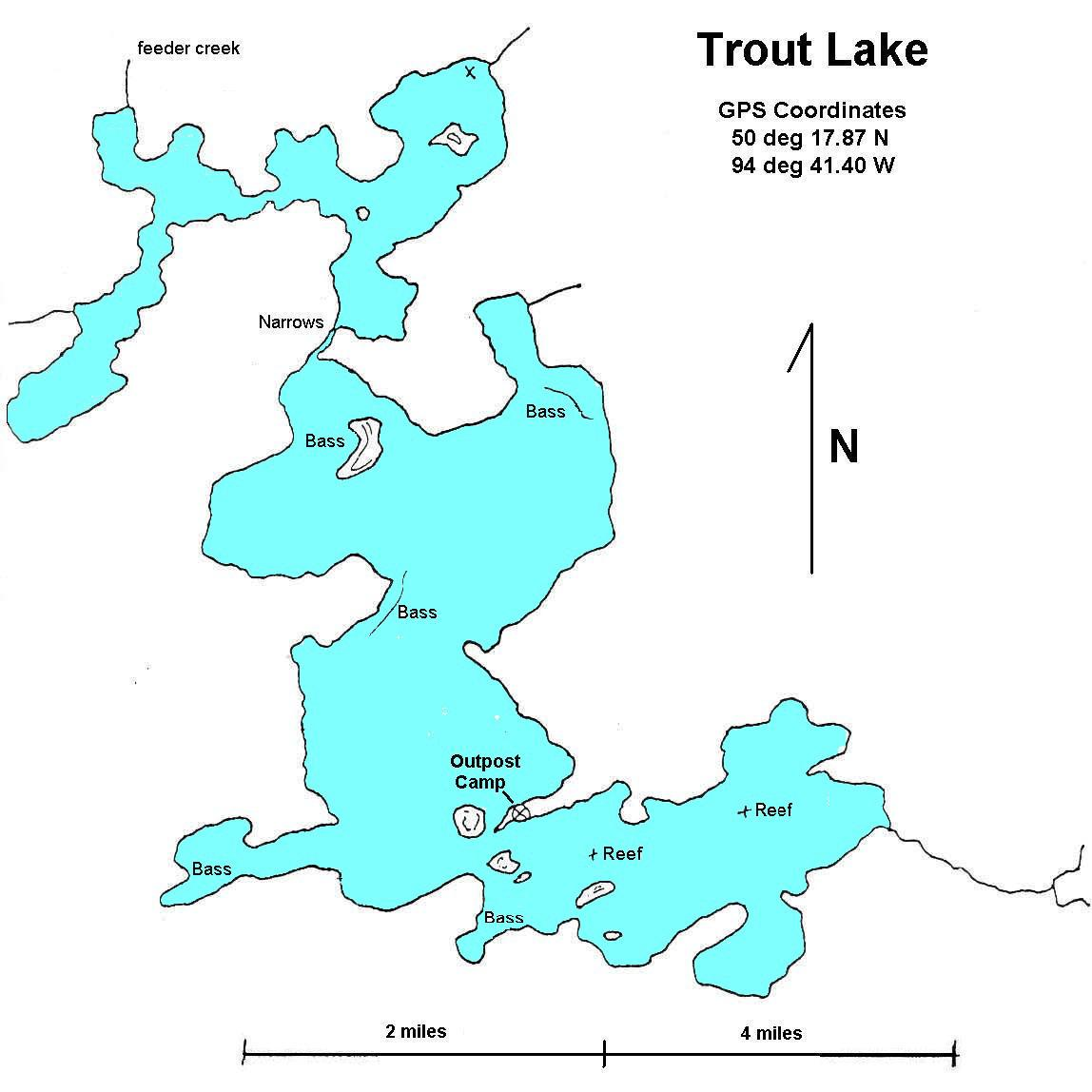 Trout Lake Walsten Outposts - Ontario fishing lakes maps